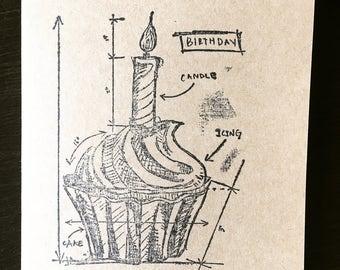 Birthday card, happy birthday, handmade