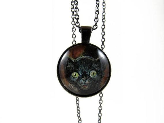 Black Cat Locket Cat Lover Jewelry Halloween Scary Cat Spooky Locket Vintage Style Teen Jewelry Photo Locket BFF Gift Creepy Cat Gifts