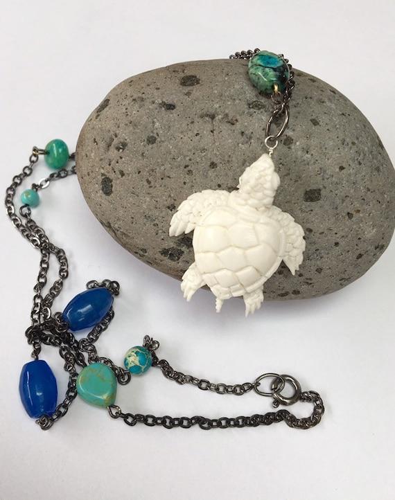 Carved Bone Turtle Pendant Etsy