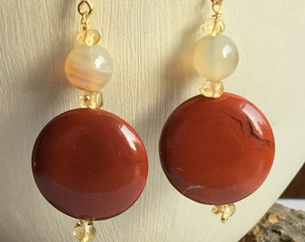 Red jasper and citrine earrings