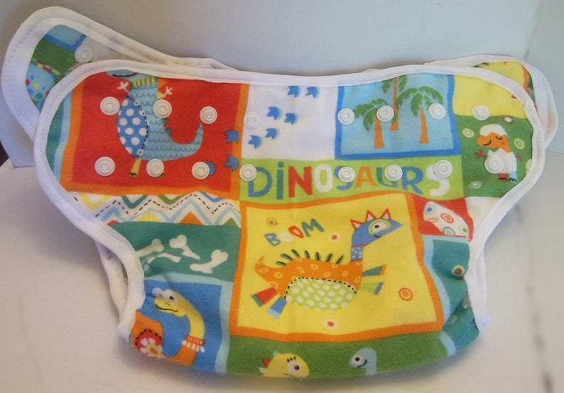 PUL Lined AIO SALE New Cloth pocket diaper,Free Insert Machine wash Reusable Dinosaur Small Adjustable