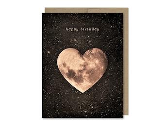 Heart Moon Birthday Card • Birthday Gift • Love Birthday
