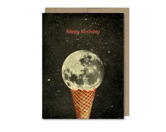 Moon Birthday Card • Gift For Friend • Ice Cream Cone • Space Birthday Card
