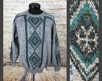 5388ae307d65 Large ••• Vintage Tribal 80 s Sweater 30% Wool Gray grandpa hipster Sweater  with cool geometric print - Large - vintage clothing men diamond