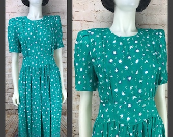Women's Vintage KARIN STEVENS Dress - Size 12 - Floral Teal Aqua Southwestern Print A-Line Shirtwaist Dress - Medium Large Sunburst Diamonds
