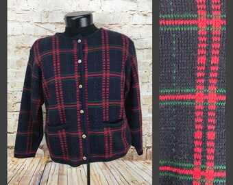 Womens Vintage Cardigan - plaid cardigan - cute navy blue and red vintage sweater - Women's vintage sweater