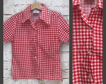 eb38c1935f5 Vintage Boy s Button Down Shirt - Vintage Kid s Red and White Checkered  Dress Shirt - Size 7 PERMA PREST Sears Western Farmer Style Shirt