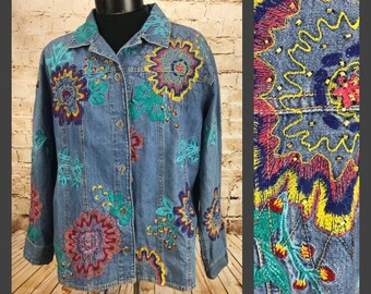 fb327ce410 Women s vintage 80 s 90 s neon embroidered floral denim Shirt Jacket -  CHICOS - Vintage Denim Shirt - Boho Floral Shirt