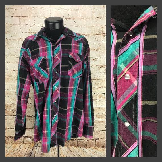 Men S Vintage Western Wrangler Shirt Pink Teal Black Etsy