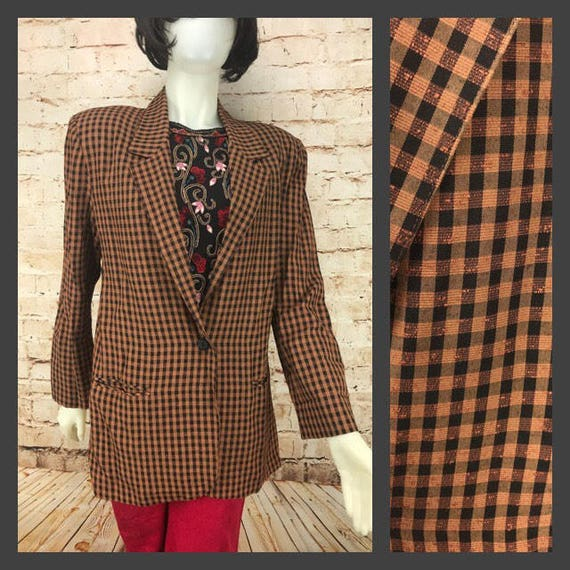Women S Vintage Checkered Blazer Suit Jacket Toni Etsy