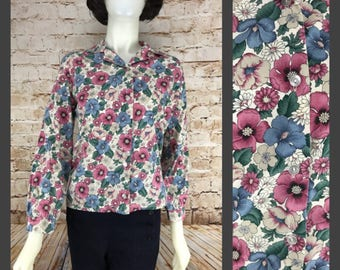 Vintage Floral Blouse - Womens Top - Boho Chic Floral Button Down Shirt - Blair Button Up long sleeve shirt size small