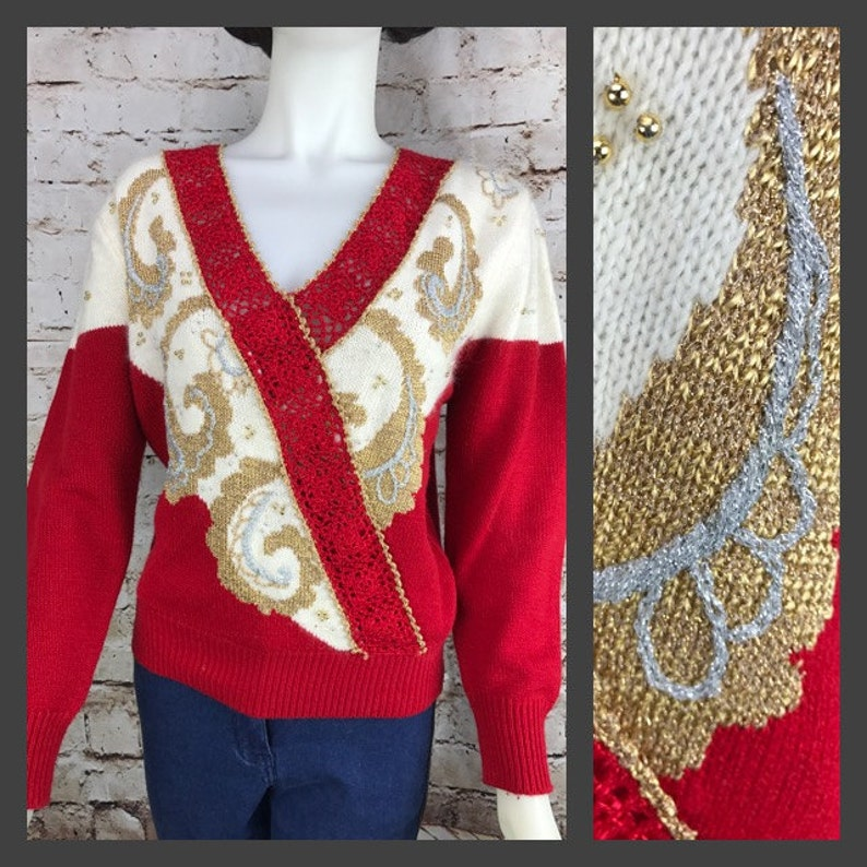Womens 80/'s Sweater Dana Scott Sparkly Red and Gold Beaded Women/'s Sweater Size Large Paisley Womens Vintage Clothing