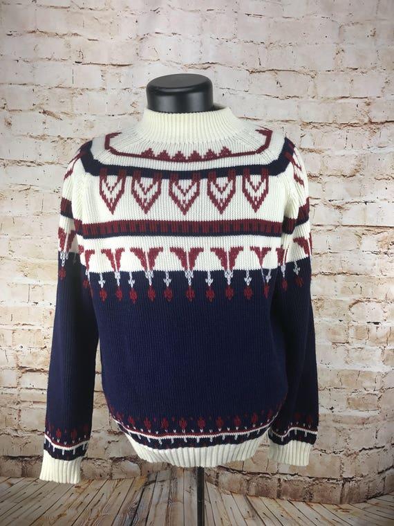 2697bed11175 Pull Vintage - années 80 JC Penny - pull vintage de ski vintage pull - rouge -blanc et bleu ...