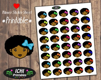 Cute Black Girl Planner Stickers, Afro Girl With Bow Printable Planner Stickers, African, Black Girl Stickers, functional, Black Girl Magic