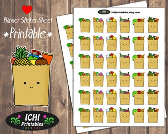 Grocery Printable Planner Stickers, Grocery Planner Stickers, Grocery Bag, Grocery Stickers, ECLP, Cute Grocery Stickers, Functional