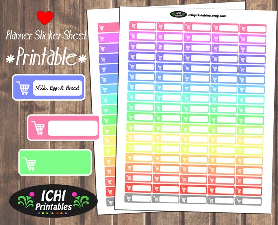 1297 Grocery Shopping Tracker Planner Stickers.