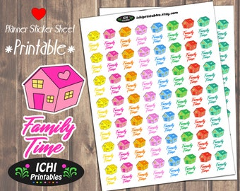Family Time Printable Planner Stickers, Family Time Planner Stickers, Cute House Stickers, Family Night, Printable Stickers, Functional