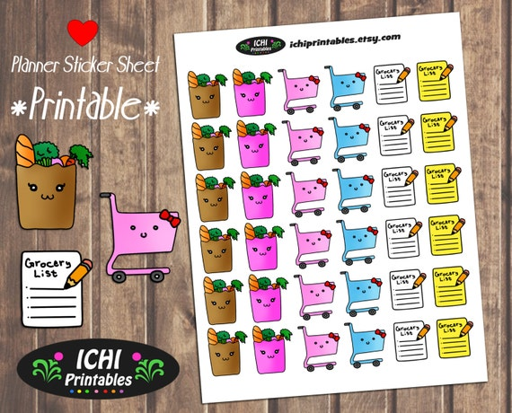 grocery printable planner stickers grocery shopping planner
