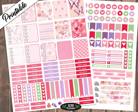 Girly Pink Weekly Planner Kit Floral Printable Stickers Etsy