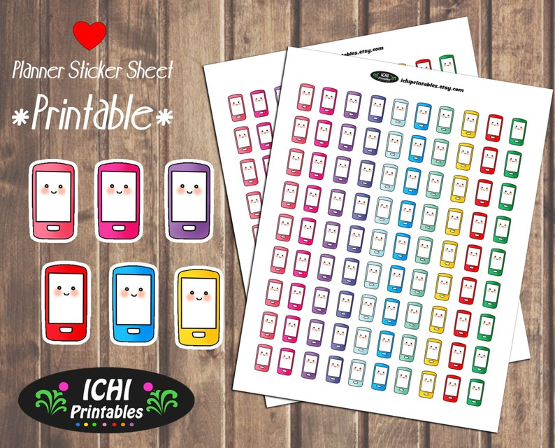 graphic about Printable Phones called Telephone Printable Planner Stickers, Cell phone Planner Stickers, Cellular Cellphone Stickers, Sensible Telephones, Print Reduce, Kawaii Useful Stickers