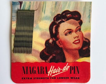 Salon Fashion Hairstyle WWII 40s Lot of TWO Vintage 1940s Niagara Hair-do Hair Pins NOS Packages Midcentury Stylist Women Updo