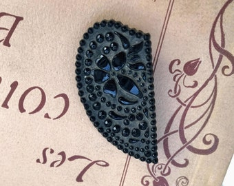 Buckle Motif On Indented Rectangle Thermoplastic Reproduction Victorian Sentimental Mourning Brooch