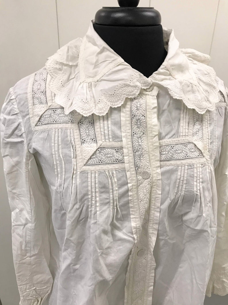 Downton Abbey Historical Top Large Size Clothing Edwardian Women with Whitework Hand Embroidery Fine Antique Cotton Shirt  Jacket