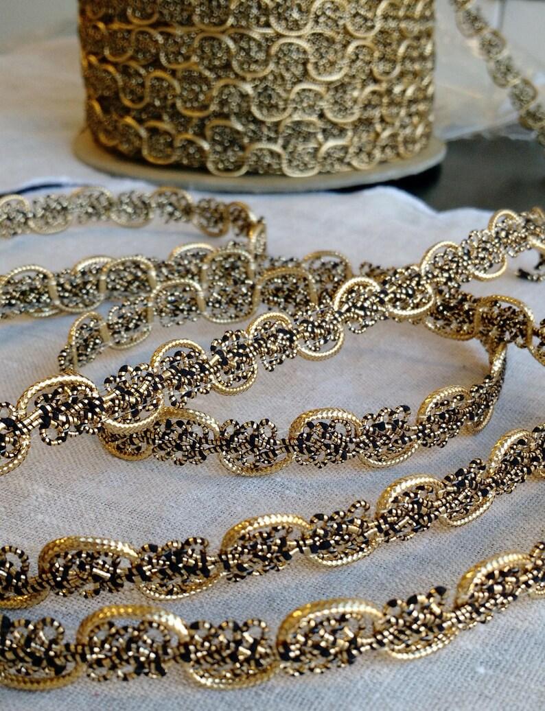 812d9e2e2334e Metallic Gold and Black Braided Vintage Trim Vintage Ribbon