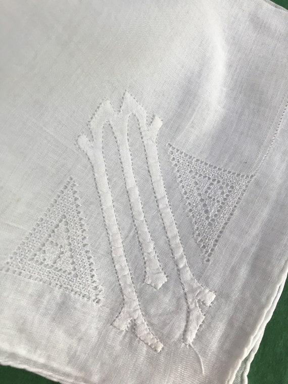 Antique or Vintage Cotton Handkerchief with M Monogram Groom Personalized Bride Gift Whites Linens Embroidery Wedding Hankie