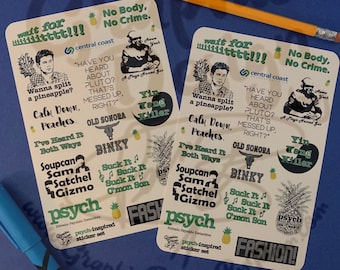 Psych Stickers | Design 1 Psych Inspired Sticker Sheet | Psych Television Show | Psych Gift | Funny Stickers | Psych Fan Stickers