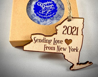 Sending Love From New York Ornament - NY Wooden Ornament - New York Cutout Ornament