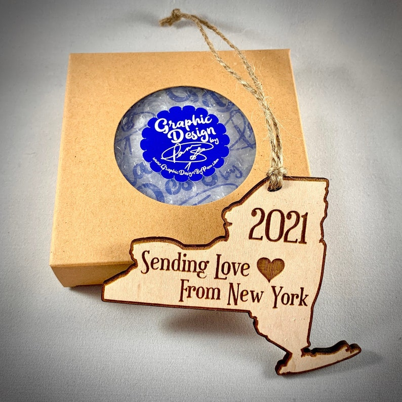 Sending Love From New York Ornament  NY Wooden Ornament  New image 1