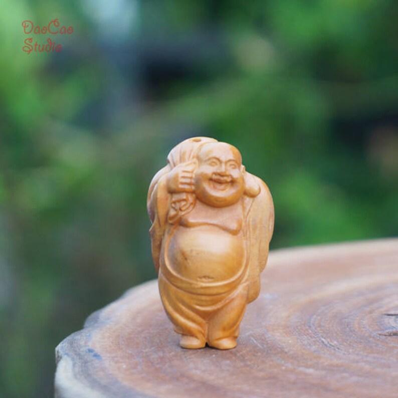 Natural wood bead pcs boxwood bead carved smile buddha back etsy