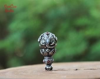 Tibetan Silver Guru Beads , 1pcs Lotus Elephant [ Ganesha Boddha ] Guru Bead , Spacer Beads DIY Accessories Jewelry Findings 3 Hole 20mm