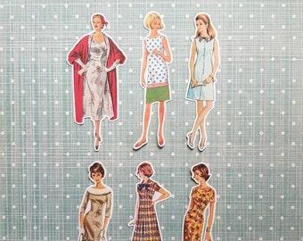 6 x Retro Girls stickers 1940's 1950's 1960's. Cute stickers. Fashion. Snail mail hobonichi midori planner journal decorations. Ephemera.