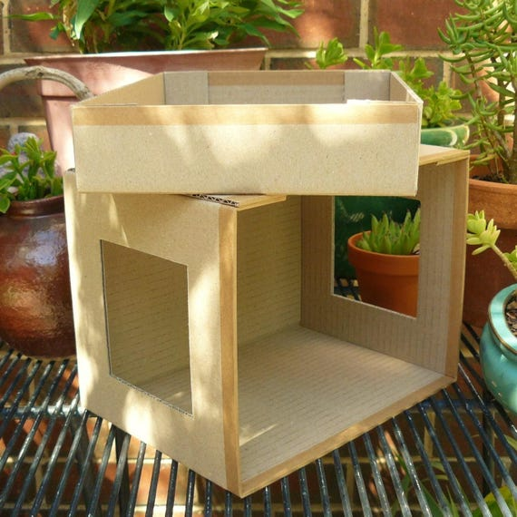 Diy Miniature Doll House Flat Packed Cardboard Kit Mini
