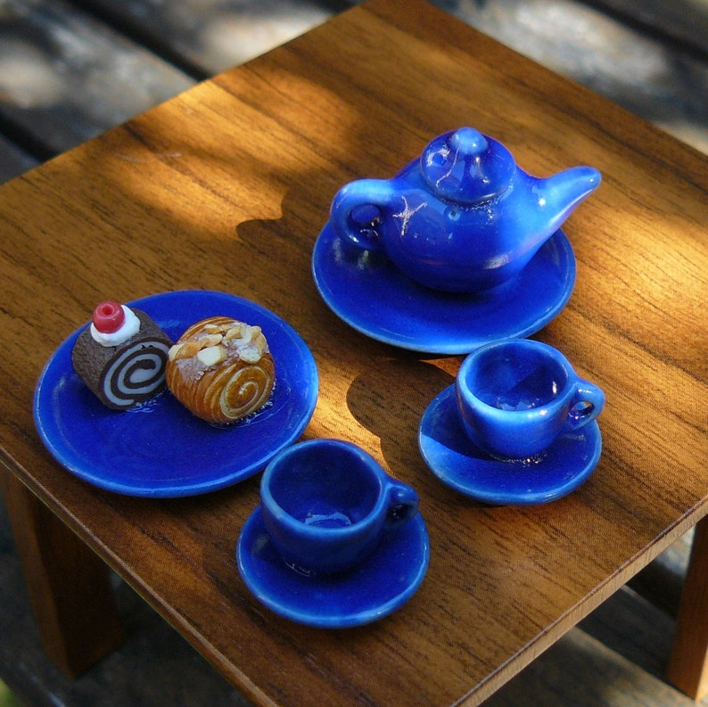 Tea  Pastry Set  Polymer clay & Ceramic glaze  Miniature image 0