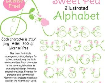 Illustrated Sweet Pea Alphabet Instant Download License Free Original Art
