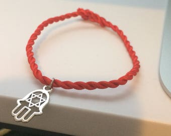 Hamsa charm bracelet Hand of Fatima Star of David Kabbalah Red string of fate Talisman jewelry Protection Spiritual gifts Khamsa Adjustable
