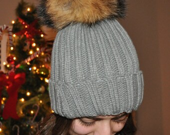 Light Grey Cotton Thick Female Beanie Cap With Fur ball