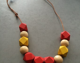 Wooden Necklace -Red Yellow and Cream