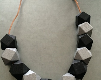 Geometric Necklace- Geometric Necklace -Silver and Black