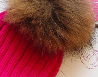 Trendy. Popular Selling Hot Pink Cotton Thick Female Beanie Cap With Fur ball