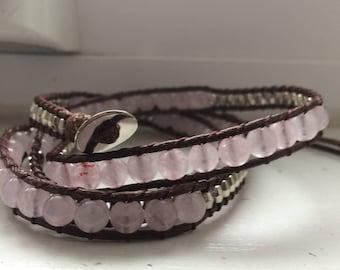 Silver Wrap Bracelet, Vegan Leather Beaded Wrap Bracelet, Brown Wrap Bracelet, Beaded Crystal Bracelet, Rose Quartz Leather Bracelet
