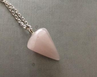 Rose Quartz Necklace -Long Silver Necklace-14k gold filled-Danity Necklace
