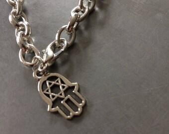 Trendy Sterling Silver Bracelet, Handmade Bracelet, Hamsa Hand Charm, Boho Jewellery, Hansa Bracelet, Popular selling