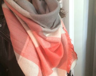 For the love Of Coral Plaid,Blanket Scarf for Women, Zara Tartan Inspired,Oversized Large Unique