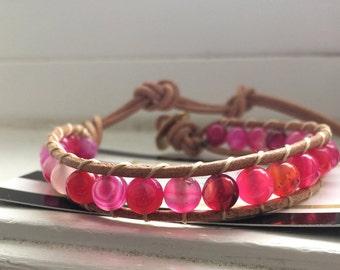Leather Agate Bracelet, Pink Agate Bracelet, Agate Jewelry, Gemstone Bracelet, Boho Bracelet, Beaded Wrap Bracelet, Leather Jewelry