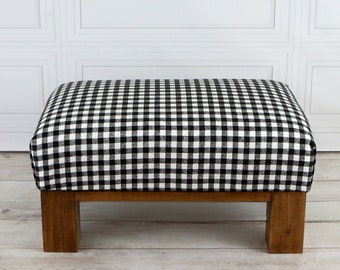 Super Rustic Furniture Foot Stool Plaid Upholstered Ottoman Plaid Bralicious Painted Fabric Chair Ideas Braliciousco