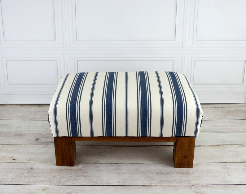 super popular 6abb8 c8bd6 Foot stool - nautical decor - striped ottoman - lake house furniture -  rustic wood furniture - small footstool